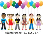 Raster version of six cute happy kids with balloons. Can be used as an invitation, greeting card, thank you poster and more. - stock photo