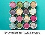 top view ice cream flavors in... | Shutterstock . vector #621659291