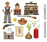 cowboy template vector flat... | Shutterstock .eps vector #621660011