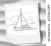 vector outline image of a yacht ... | Shutterstock .eps vector #621661289