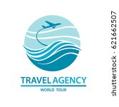 abstract travel logo with... | Shutterstock .eps vector #621662507