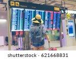 young woman traveler in...   Shutterstock . vector #621668831
