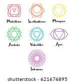 set of line chakras icons with... | Shutterstock .eps vector #621676895