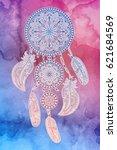flower mandala. dreamcatcher.... | Shutterstock .eps vector #621684569