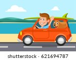 travel on the car  a vector... | Shutterstock .eps vector #621694787