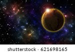 star field with planet and...   Shutterstock . vector #621698165