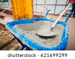 blue clean new wheelbarrow for... | Shutterstock . vector #621699299
