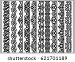 set of ten seamless endless... | Shutterstock .eps vector #621701189