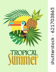 tropical summer vector... | Shutterstock .eps vector #621703865