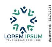 people business logo design.... | Shutterstock .eps vector #621713261