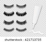 false eyelashes and white glue... | Shutterstock .eps vector #621713735