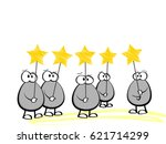 cartoon characters holding a... | Shutterstock .eps vector #621714299
