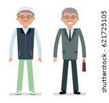elderly businessman in a... | Shutterstock .eps vector #621725105