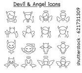 devil   angel icon set in thin... | Shutterstock .eps vector #621731309