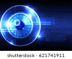 technological eye scanning hud... | Shutterstock .eps vector #621741911