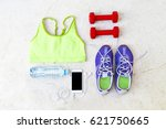 top view of fitness accessories | Shutterstock . vector #621750665
