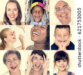 collage of people smiling... | Shutterstock . vector #621753005