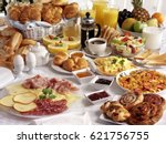 breakfast table filled with... | Shutterstock . vector #621756755