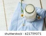 white milk. fresh milk. rural...   Shutterstock . vector #621759371