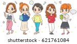 happy young women group | Shutterstock .eps vector #621761084