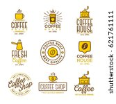 coffee shop logo set isolated... | Shutterstock .eps vector #621761111