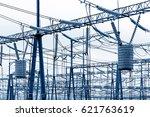 high voltage power substation ... | Shutterstock . vector #621763619