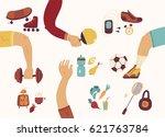 team play  sport  dieting ... | Shutterstock .eps vector #621763784