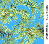 palm leaves seamless pattern.... | Shutterstock . vector #621766889