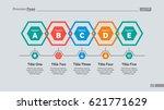 five hexagons diagram slide... | Shutterstock .eps vector #621771629