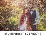 beautiful bride with long hair... | Shutterstock . vector #621780749