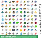 100 town icons set in isometric ... | Shutterstock .eps vector #621781319