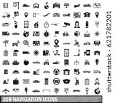 100 navigation icons set in... | Shutterstock .eps vector #621782201