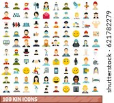 100 kin icons set in flat style ... | Shutterstock .eps vector #621782279