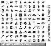 100 north america icons set in... | Shutterstock .eps vector #621782489