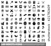 100 insects icons set in simple ... | Shutterstock .eps vector #621782609