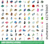 100 couple icons set in... | Shutterstock .eps vector #621783665