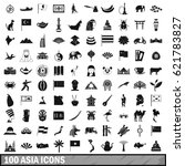 100 asia icons set in simple... | Shutterstock .eps vector #621783827
