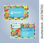 blue modern business card... | Shutterstock .eps vector #621786761