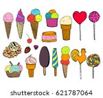 hand drawn ice cream collection ... | Shutterstock .eps vector #621787064