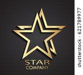 3d gold double star modern logo | Shutterstock .eps vector #621789977