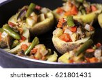 baked potatoes stuffed with... | Shutterstock . vector #621801431