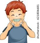 illustration of a little boy... | Shutterstock .eps vector #621806681