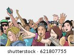 illustration of festival crowd... | Shutterstock .eps vector #621807755