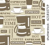 collection of coffee equipment... | Shutterstock .eps vector #621810719