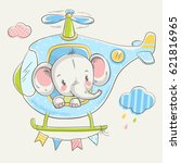 cute elephant on a helicopter... | Shutterstock .eps vector #621816965