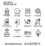 fire safety vector line icon... | Shutterstock .eps vector #621823871
