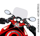 biker driving a motorcycle.... | Shutterstock .eps vector #621825011