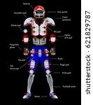 american football equipment ... | Shutterstock .eps vector #621829787