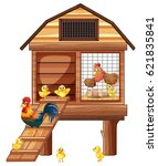 chicken coop with many chicks... | Shutterstock .eps vector #621835841