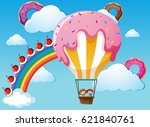 scene with rainbow and candy... | Shutterstock .eps vector #621840761